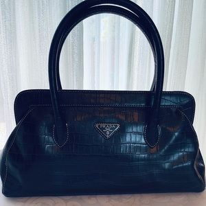 """PRADA"" Knockoff Crocodile Leather Satchel"